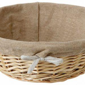 Round Linen Lined Wicker Basket 8 3/4