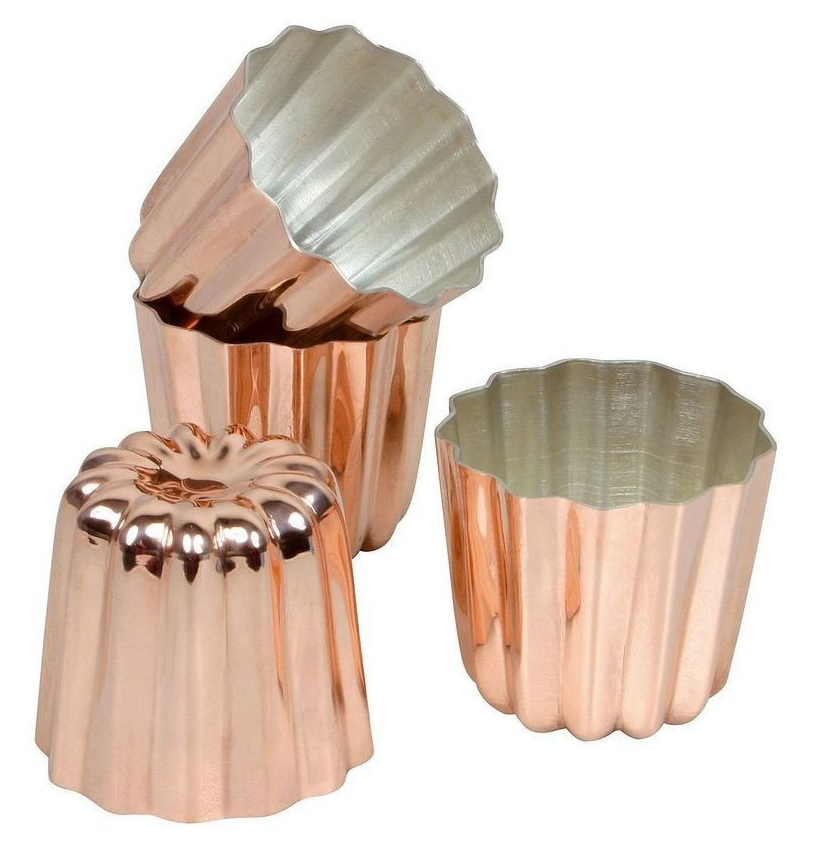 Cannele Copper Tin Lined Molds Matfer Usa Kitchen Utensils