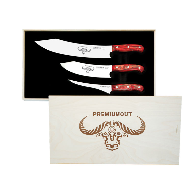 Giesser Messer Premiumcut Set Of 3 Knives Red Diamond