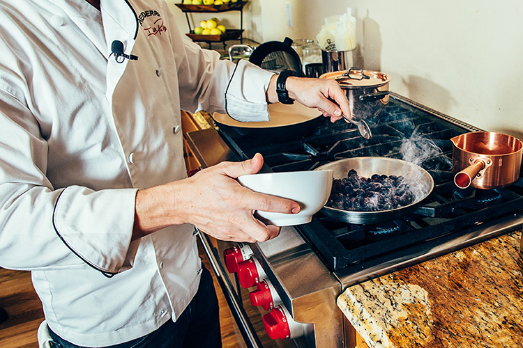 Matfer Tradition Fry Pan is used by Chef Derrick Peltz as he creates an amazing Puff Pastry and Duck dish.