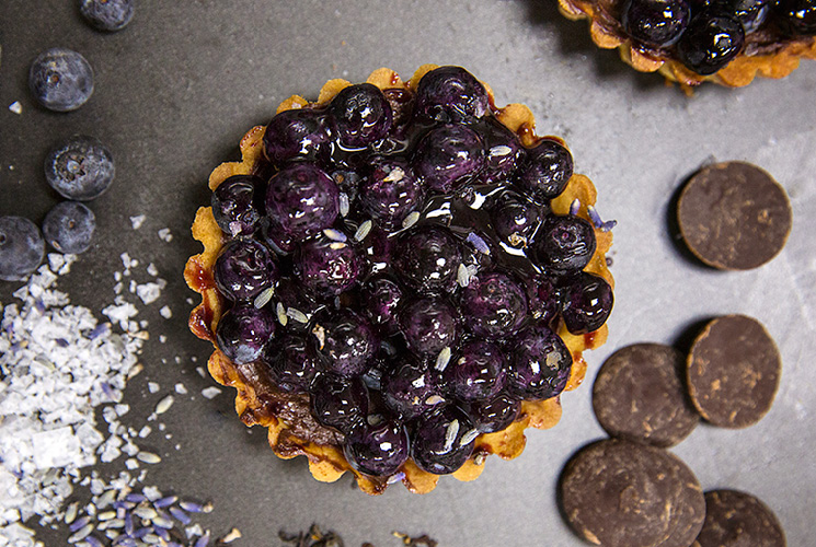Chef Waylynn Lucas tarts with blueberry, lavender, and earl grey
