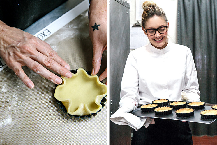 Chef Waylynn Lucas working with pastry dough