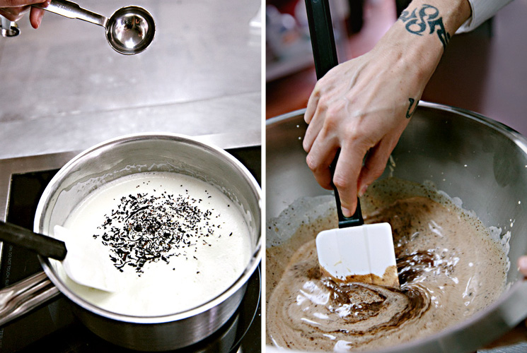 Chef Waylynn Lucas works with earl grey tea leaves for her tart