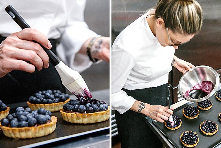 Chef Waylynn Lucas finishing tarts