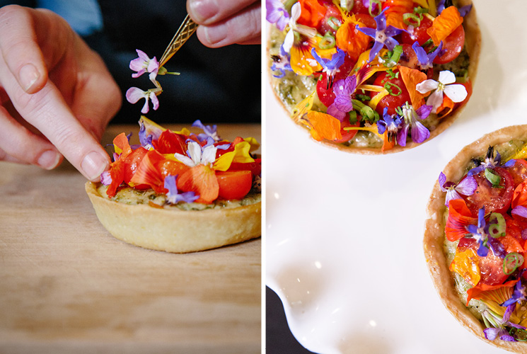 Placing on the edible flowers and the final product