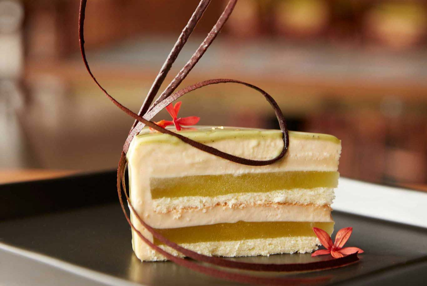 Kinako Mousse Cake with Green Apple Gelee and Miso-Caramel Cream
