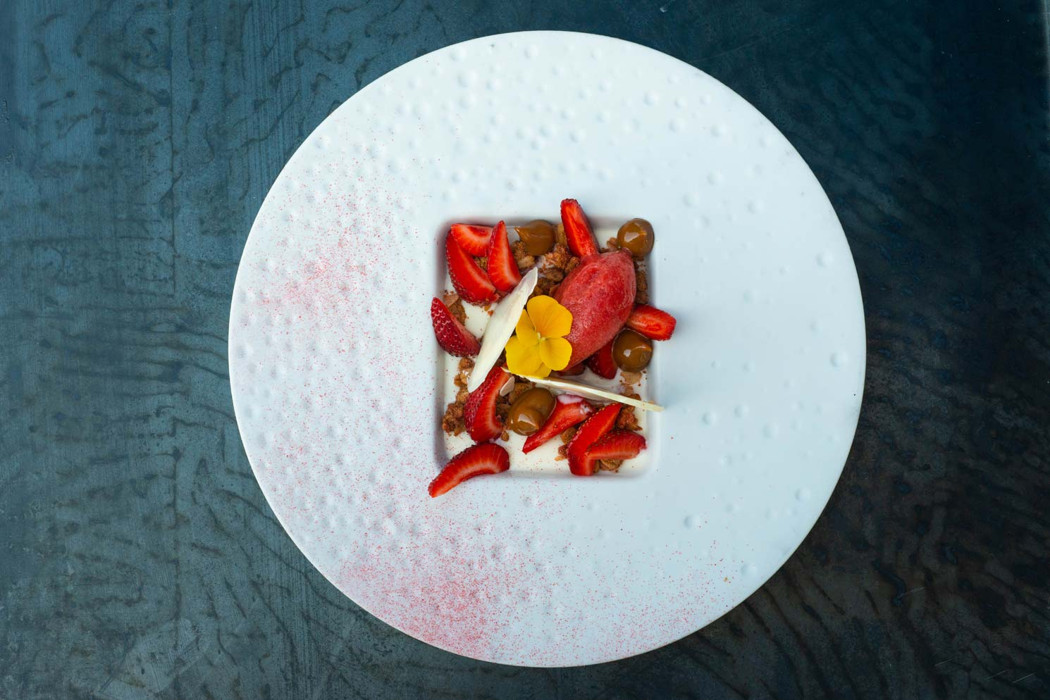 Panna Cotta with Strawberry Sorbet and White Chocolate Ravioli by Kamel Guechida
