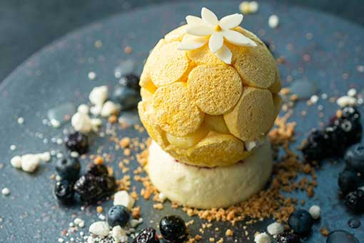 Lemon Cheesecake with Meringue Dome by Kamel Guechida